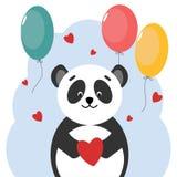 Postcard Panda bear with heart shaped balloons. Vector design. royalty free illustration