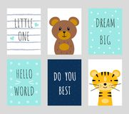 Set of postcards with cute owls and inscriptions vector illustration