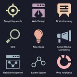 Business and technology marketing dark icons. SEO, internet marketing and analysis theme of colored icons stock illustration