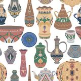 Seamless pattern with traditional Arabic utensils collection. Oriental dishes, pots, lantern, bowl, plates, pottery, ceramic with. National floral ornament vector illustration