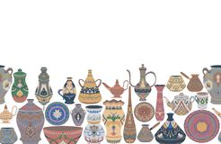 Seamless border with traditional Arabic utensils collection. Oriental dishes, pots, lantern, bowl, plates, pottery, ceramic with n. Ational floral ornament royalty free illustration