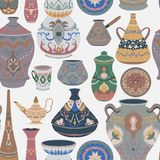Seamless pattern with traditional Arabic utensils collection. Oriental dishes, pots, lantern, bowl, plates, pottery, ceramic with. National floral ornament royalty free illustration