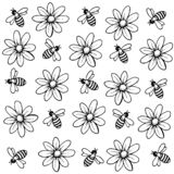 Background of flowers and bees vector illustration