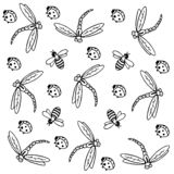 Bee, dragonfly and ladybug background royalty free illustration