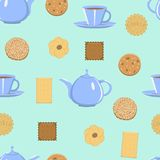 Cookies, teapot, tea Cup seamless vector pattern stock illustration