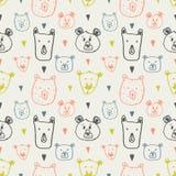 Forest animal seamless pattern. Hand drawn vector illustration. stock illustration