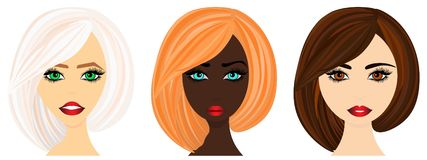 Web A set of women faces of various ethnicity. Vector illustration to use in fashion. royalty free illustration