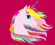 Web White Unicorn vector illustration for children design. Rainbow hair. Isolated. Cute fantasy animal. royalty free illustration