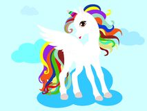 Web Cute magical unicorn. Vector design isolated on white background. Print for t-shirt or sticker. royalty free illustration