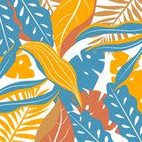 Background with colorful tropical leaves. Vector design. Flat jungle print. Floral background. stock illustration