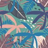 Tropical seamless pattern with colorful leaves on pastel background. Vector design. Flat jungle print. Floral background. stock illustration