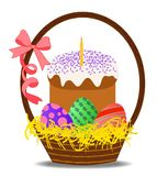 Basket with colorful eggs and Easter kulich royalty free illustration