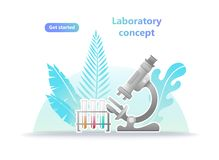 Medical Scientist Laboratory Microscope Test Landing Page. royalty free illustration