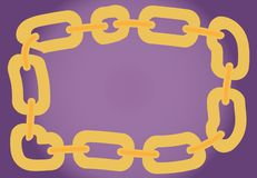 Vector frame drawing with yellow chain. Vector drawing with yellow chain vector illustration