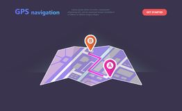 Concept GPS navigation, point location on a city map vector illustration