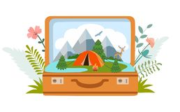 Summer camp, camping, travel, tourism with open suitcase, modern flat style. Vector illustration. Summer camp, camping, travel, tourism with open suitcase vector illustration