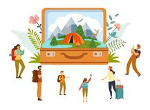 Summer camp, camping, travel, tourism with open suitcase and miniature people, modern flat style. Vector illustration. Summer camp, camping, travel, tourism royalty free illustration