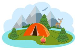 Vector illustration of mountain camp location for travel, tourism or camping. Vector illustration of mountain camp location for travel, tourism or camping royalty free illustration