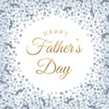 Happy Father`s Day lettering poster with silver circle and moustache confetti. vector illustration