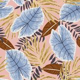 Original seamless pattern with colorful tropical leaves on beige background. Vector design. Jungle print. Floral background. Original seamless pattern with vector illustration