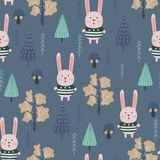 Kids seamless pattern with cute Bunny and wildlife. Vector design, printing and textiles. royalty free illustration