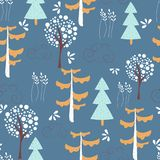 Children`s seamless pattern with wild nature on a dark background. Vector design, printing and textiles. Children`s seamless pattern with wild nature on a dark royalty free illustration