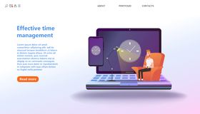 Concept Effective time management, planning training activities. Times is money. Business and management, time is money, Deadline, organization, working time vector illustration