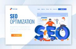 Landing page template of SEO Optimization. Modern flat design concept of web page design for website and mobile website - Vector stock illustration