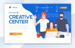 Creative Center website template design. Vector illustration concept of web page design for website and mobile website dev stock illustration