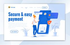Secure and easy payment landing page design. Modern online payment landing page design - Vector stock illustration