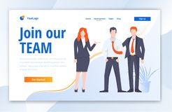 Team Work Creative Center website template design. Vector illustration concept of web page design for website stock illustration