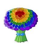 Bouquet of rainbow roses, lgbt vector illustration
