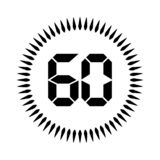 The 60 minutes or seconds. Stopwatch vector icon, digital timer. clock and watch, timer stock illustration