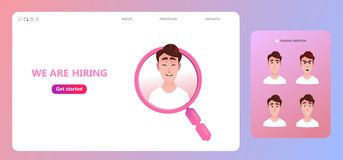 We are hiring concept, Cartoon character looking for job vacancies within a magnifying glass. royalty free illustration