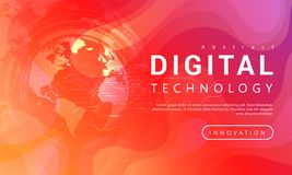 Digital technology banner red orange background concept with world light effects royalty free illustration