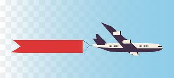 Plane with ribbon banner. vector illustration