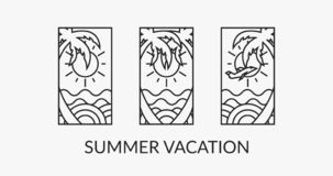 Summer vacation time 3 logotypes design, digital art vector illustration