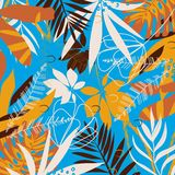 Abstract pattern with tropical leaves and plants on a black geometric background. Vector design. Jungle print. Textiles and printi. Ng. Floral stock illustration