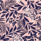 Trend seamless pattern with tropical leaves and flowers on a delicate background. Vector design. Jungle print. Textiles and printi. Ng. Flora royalty free illustration