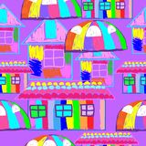 Seamless pattern in the style of children`s drawing bright houses stock illustration