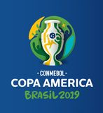 Copa America 2019 Brasil Editorial Vector Illustration. Conmebol Copa America Brasil 2019 Editorial vector illustration on blue background vector illustration