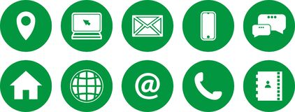 Set of green icons. communications icons. contact us icons royalty free illustration
