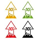Ten percent up, upwards arrow illustration. EPS file available. see more images related stock illustration