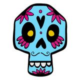 Mexican sugar skull. With colorful floral pattern, Day of the death vector Illustration vector illustration