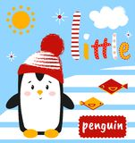 Cute penguin on the card with the inscription. Vector illustration. Cartoon pattern. Can be used to print t-shirt, baby shower inv royalty free illustration