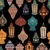 Seamless pattern with Arabic lanterns collection. Traditional oriental lamps with national floral ornament. Vector illustration royalty free illustration