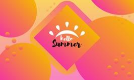 Brush lettering composition. Hello Summer. Vector illustration EPS10. royalty free illustration