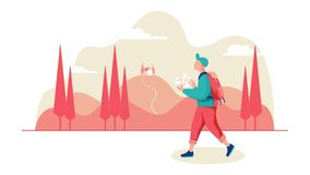 Young male traveler with a map and backpack in the background a hilly landscape with cypresses stock illustration