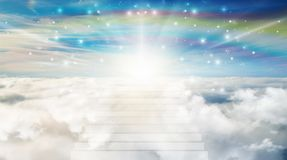 Stairway to Heaven, above clouds, soul journey to the light, heavenly sky, path to God