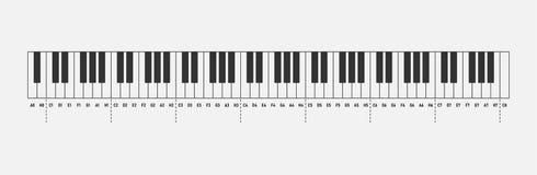 Music notes piano keyboard 88 keys isolated on white background. Solfeggio.